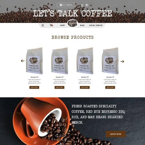 `Web design for a coffee company.