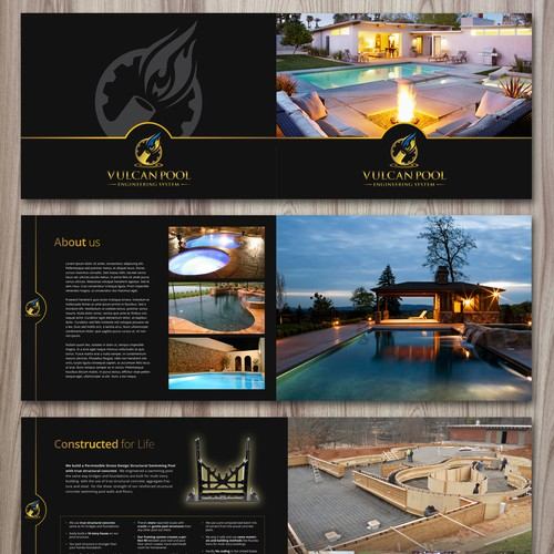 Create luxury brochure for swimming pool business that feelshigh-class!