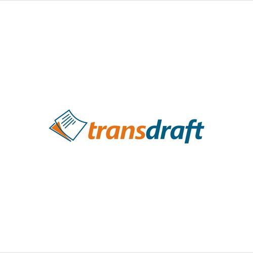 Logo for freelance translator web app called 'transdraft'