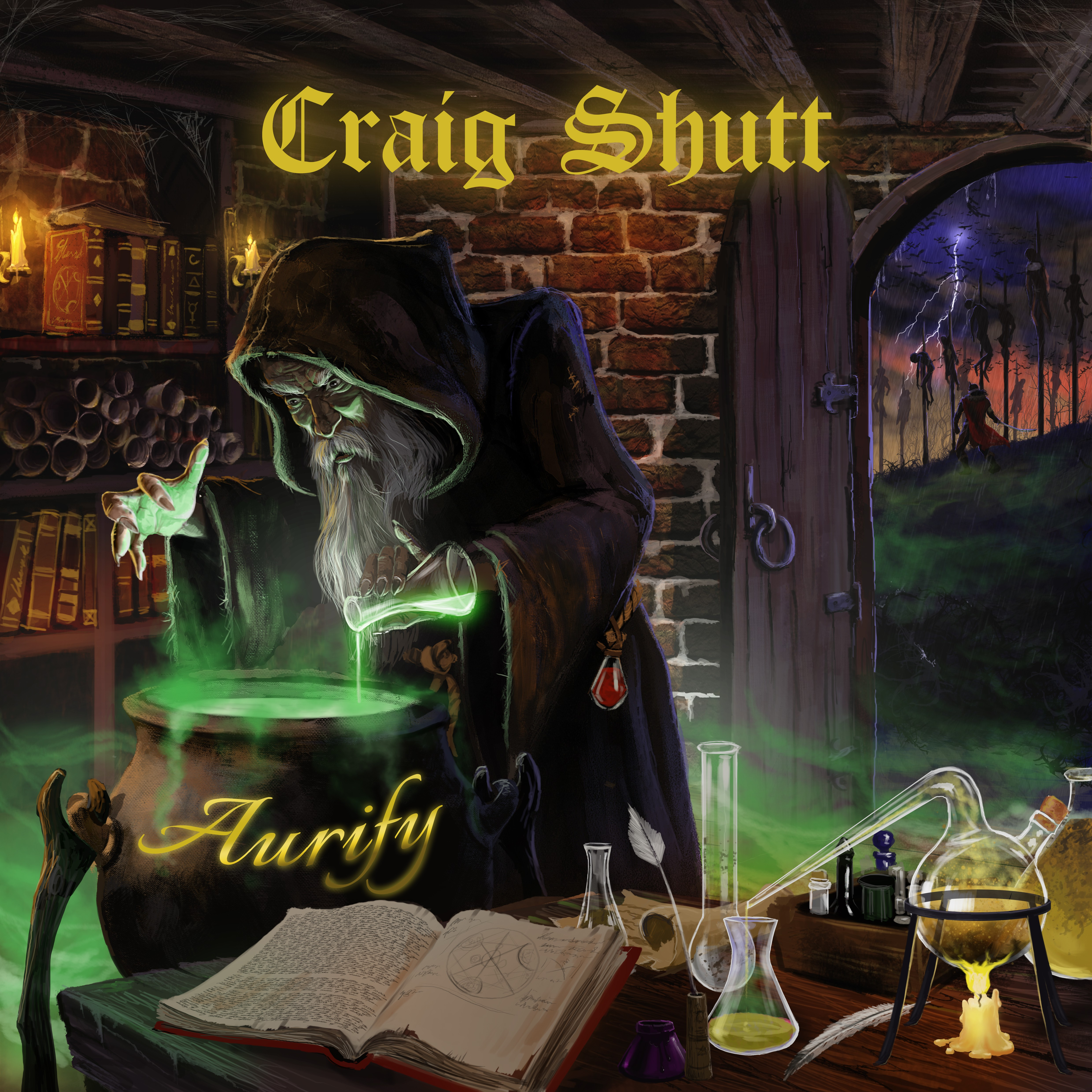 """Create a medieval-style cover for my album """"Aurify"""""""