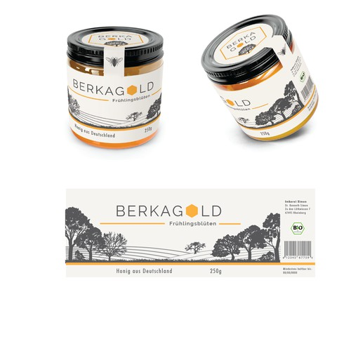 Packaging label for a high end German honey company
