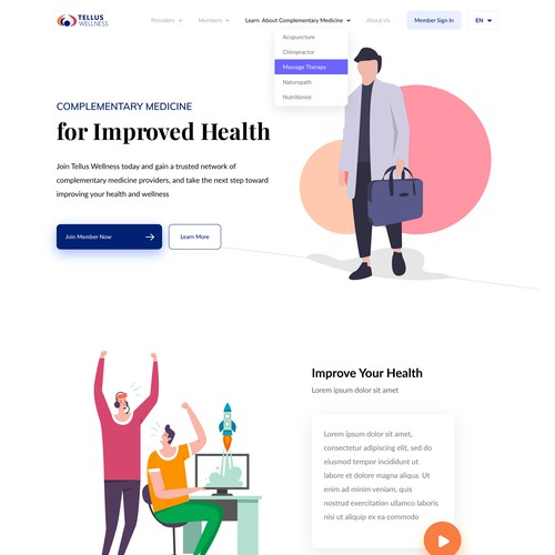 Landing Page Concept for TellusWellness