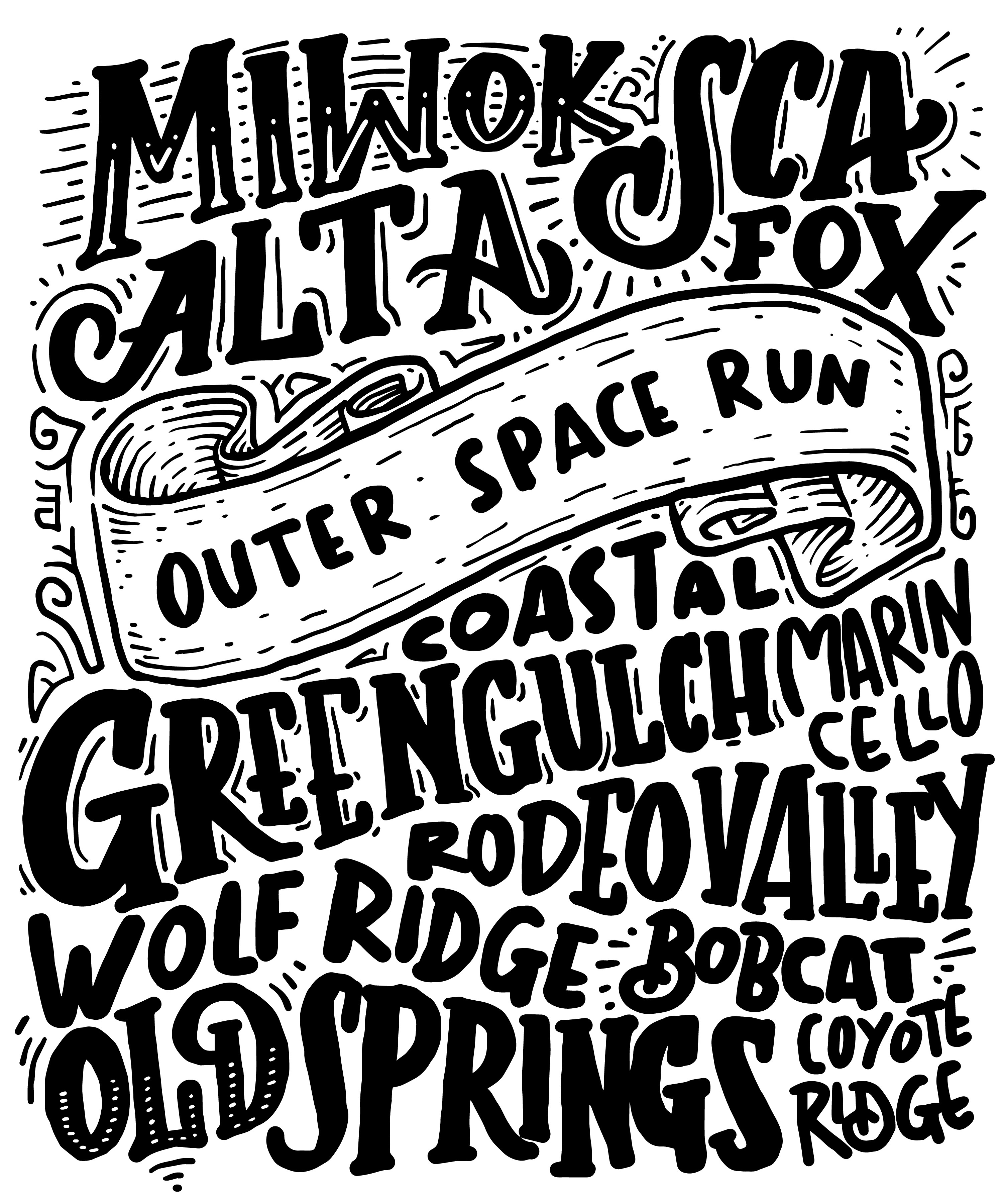 Trail Names shirt concept for Outer Space Run