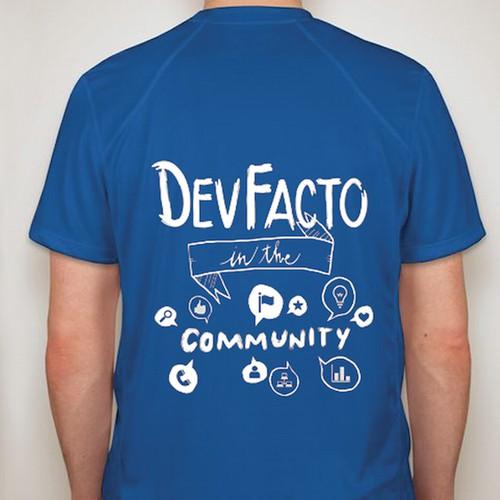 "Create a ""DevFacto in the Community"" t-shirt illustration"