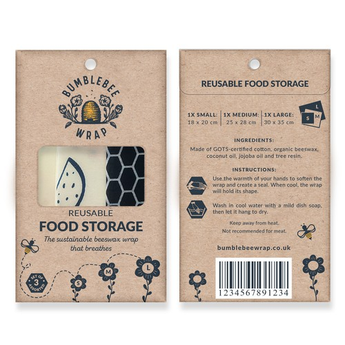Eco-friendly beeswax food wraps package design