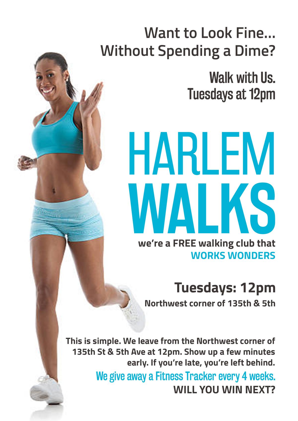 Flyer for a Harlem walking club