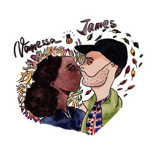 "Wedding illustration ""Vanessa and James"""