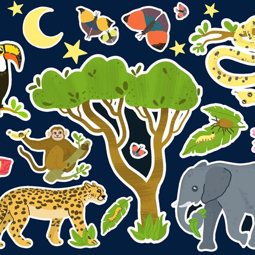 """set of stickers for children """"Jungle"""""""