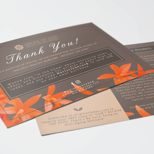 Elegant THANK YOU cards for Origins Of Eden