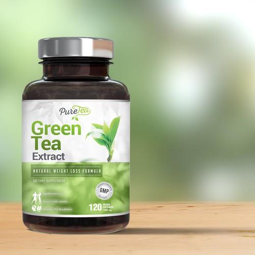 Green Tea label design