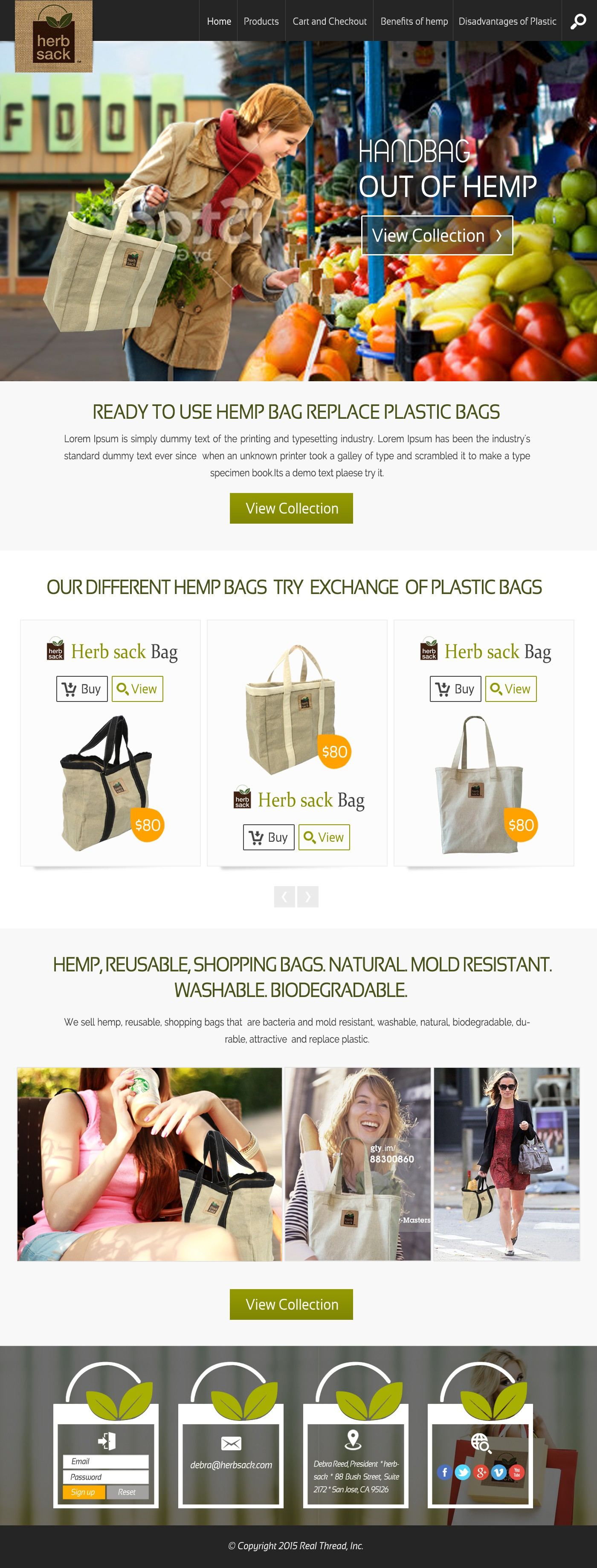 Create an awseome ecommerce site for hersack eco-bags that will appeal to women who buy natural products!