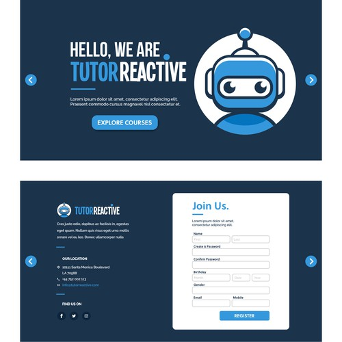 Tutor Reactive simple web page design