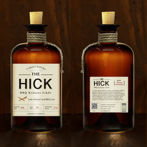 "New design for, The Hick'"" b b q liquor."