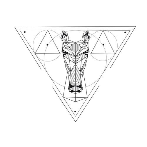 Tattoo design horse geometric