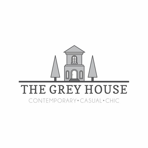 Create a contemporary, casual and chic logo for The Grey House-unique boutique: gifts, clothing and interior.