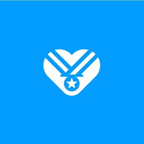 heart + medallion logo concept.