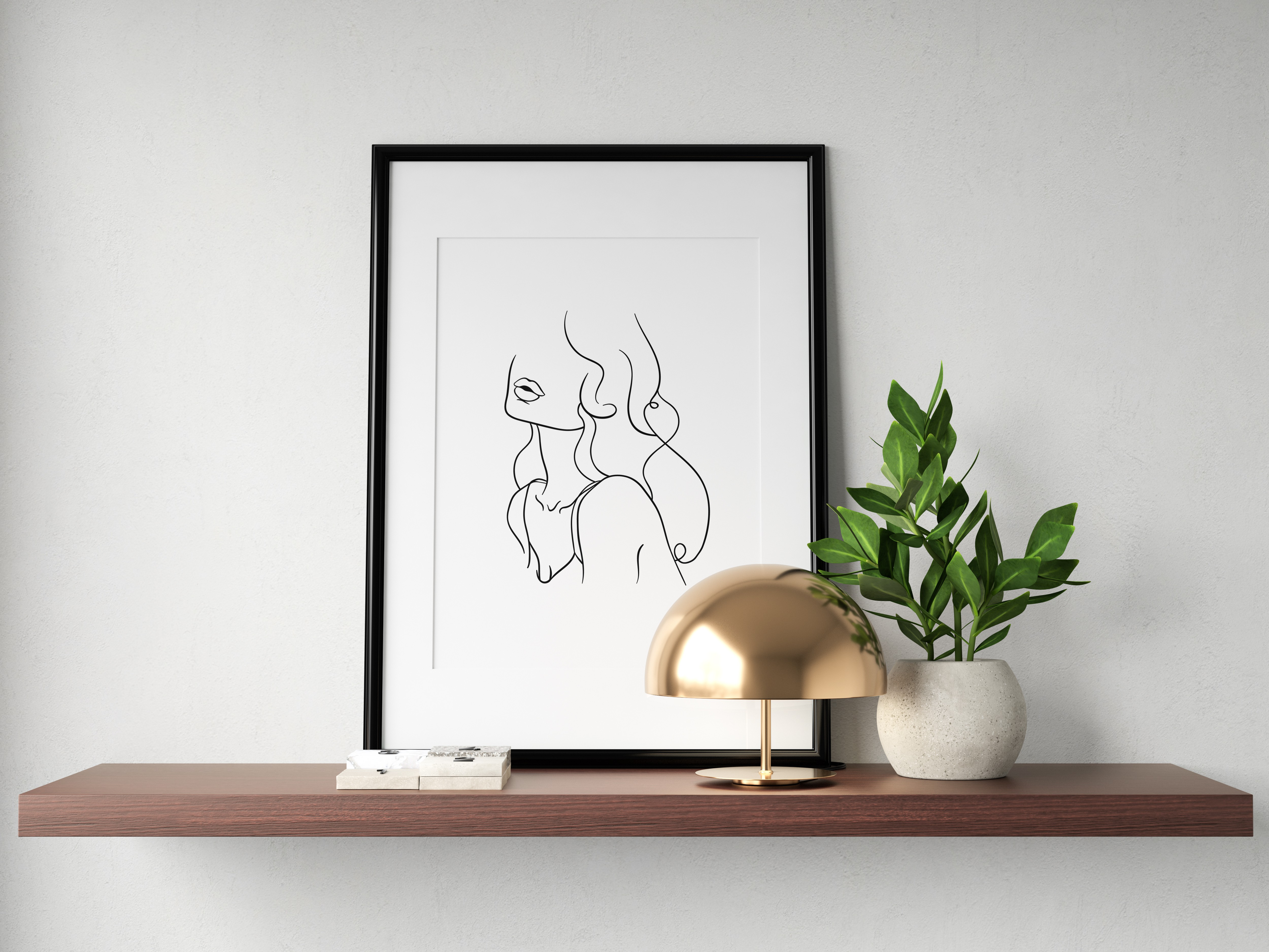 Create a set of 4 minimal line art women posters