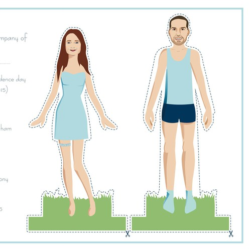Paper doll designed wedding invites