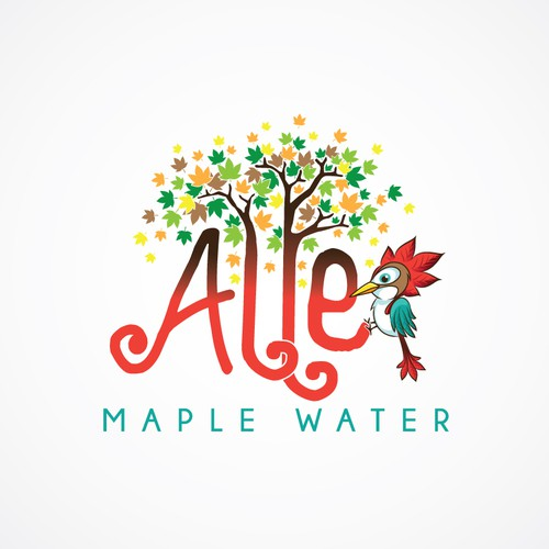 Create a young, fun, playful maple water logo (cartoon trees, bird, and text)