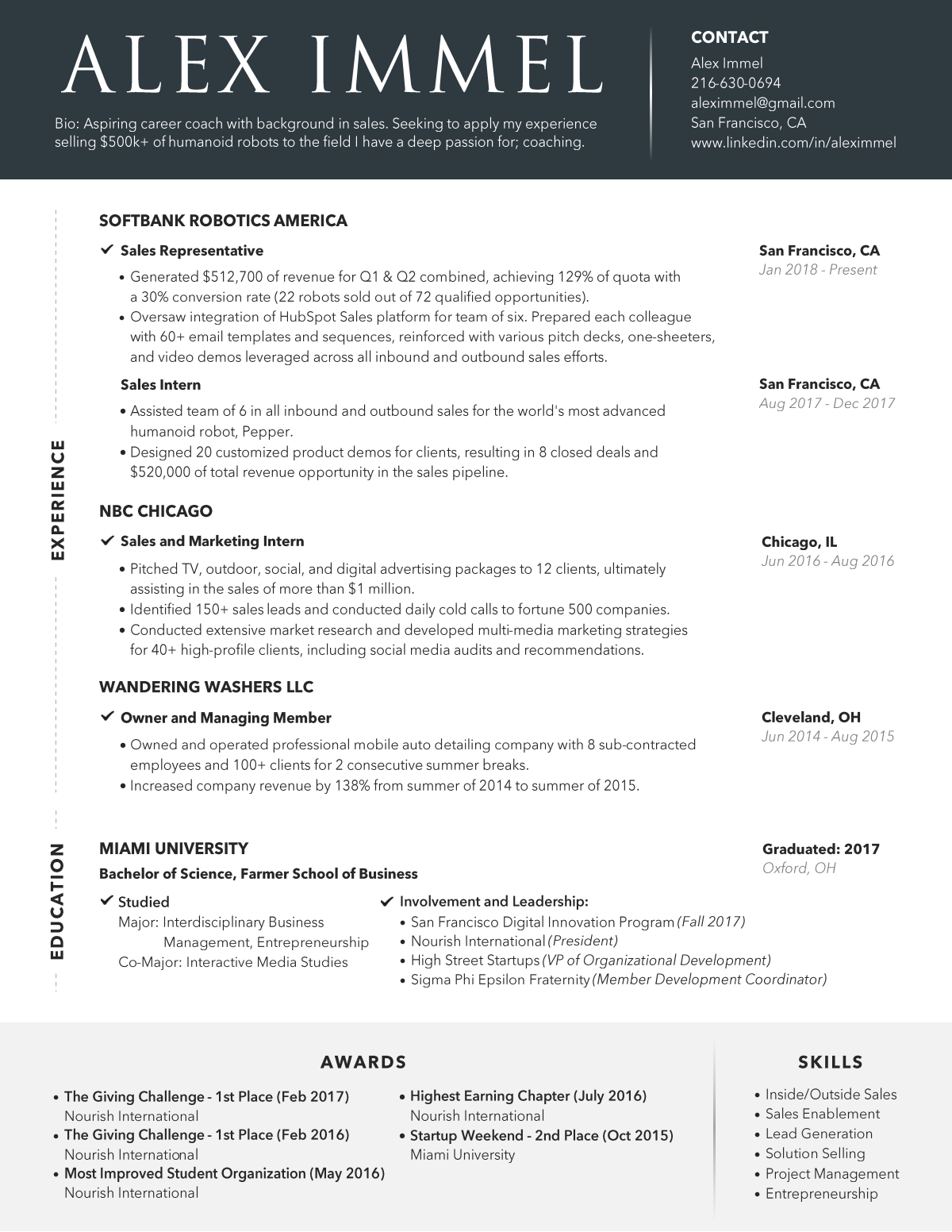 Design a sales-focused resume (content is ready to go)