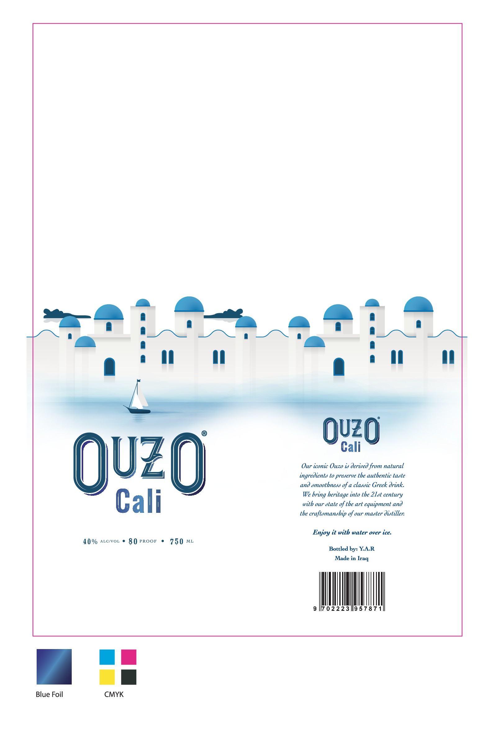 Design a sophisticated bottle packaging for Ouzo Cali