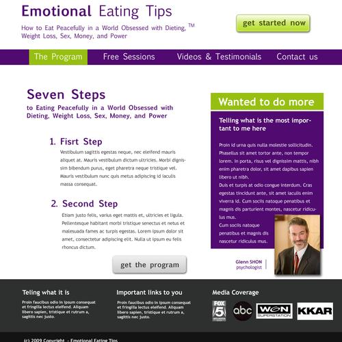website mock-up pentru un site de dieta
