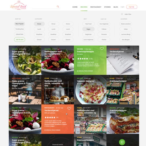 Minimalistic and intutiive website for Special Food Corner
