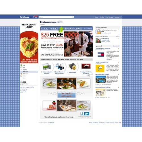 FACEBOOK BACKGROUND FOR RESTAURANTS - CLEAN, NICE, CATCHY