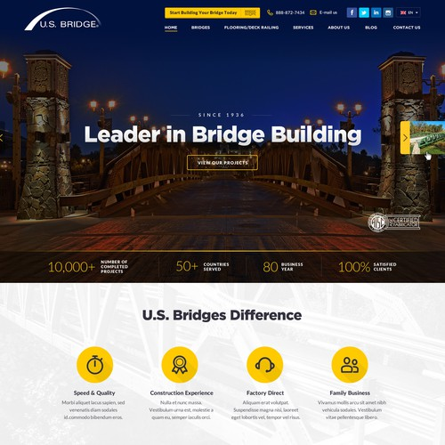 Modern, Stylish, Flat Web design for Construction Company, leader in Bridge Building
