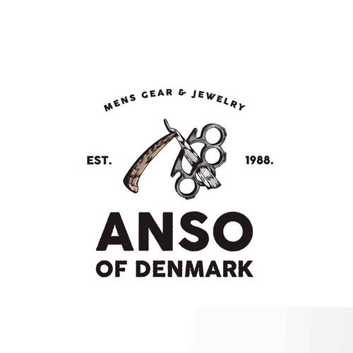 Straight razor Vintage logo Illustrartion