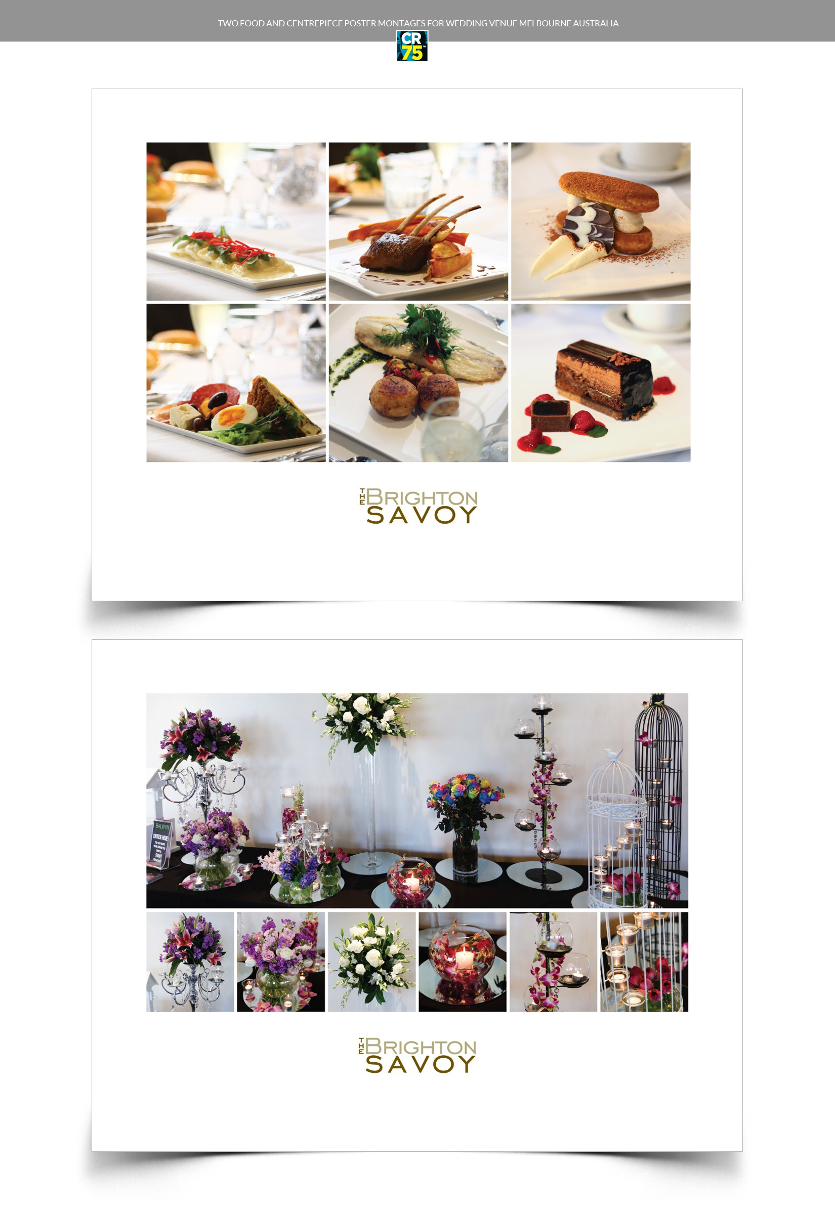 two food and centrepiece  poster montages for wedding venue melbourne australia