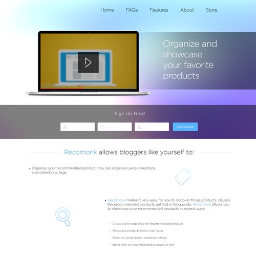 Create a winning landing page for Recomonk - potential for more work later