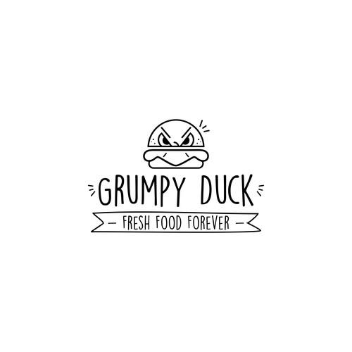 Concept logo grumpy duck