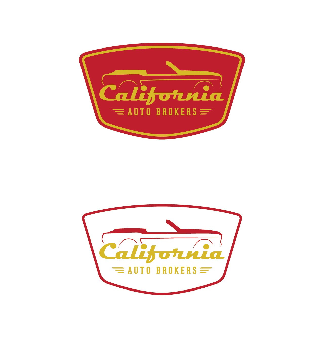 Create a automotive logo incorporating red and yellow.Newer style car classic lettering.