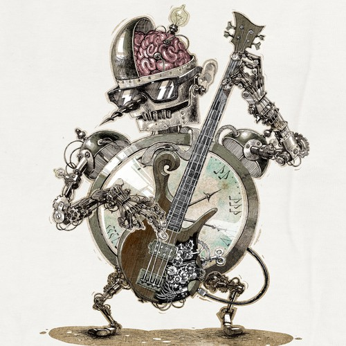 BASS GUITAR! CLOCKWORK! Create a T-shirt that I'll be proud to wear everywhere!