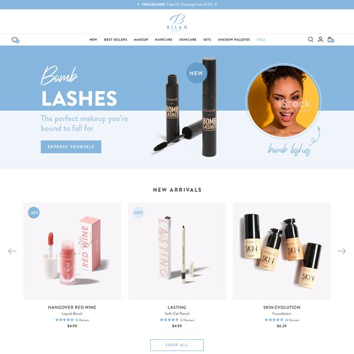 website for a fun & playful cosmetics retailer