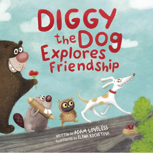 Funny illustrations for the book about the dog Diggy.