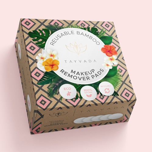 makeup remover pads packaging design.