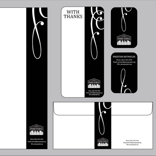 """New stationery (business cards, letterhead, envelopes, """"thank you"""" cards) for PianoPeople.org - Open to Genius :)"""