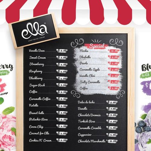 Playful ice-cream menu card design
