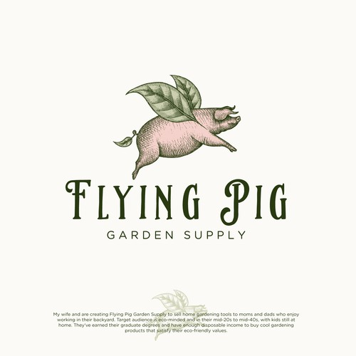 Logo design for Flying Pig Graden Supply