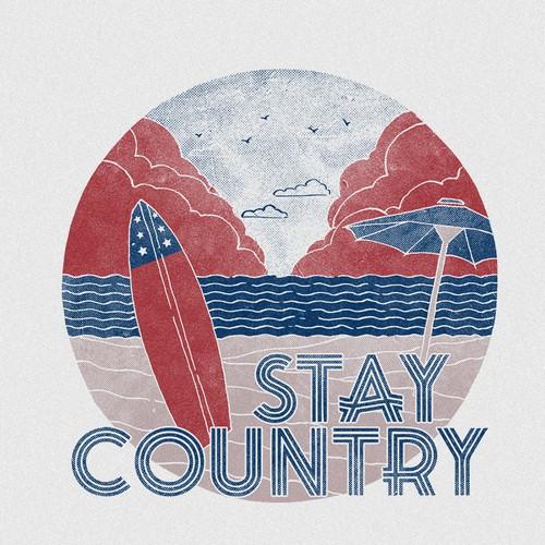 Patriotic Vintage Summer Illustration