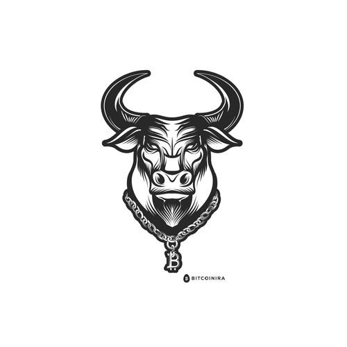 Bull Head w/ Bitcoin Gold Chain