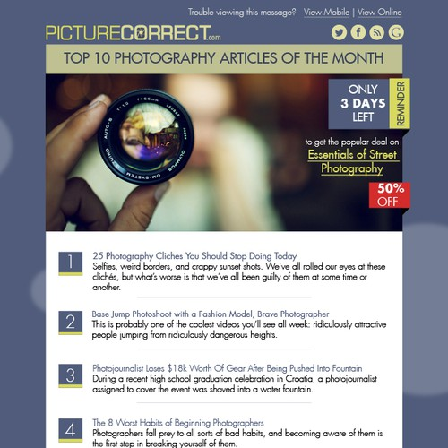 Top 10 Photography Articles of the Month - Email Template