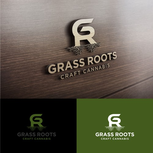 bold logo concept for Grass Root craft canabis.