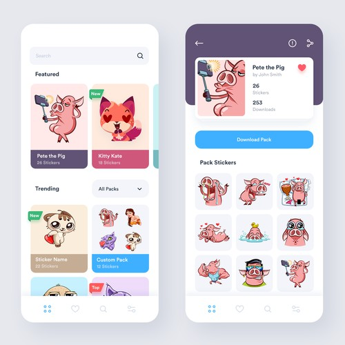 App design for Sticker Packs