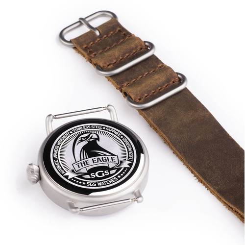 """Engravement on the back plate of the """"Eagle"""" SGS Watch"""