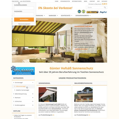 Redesign Sonnensegel Onlineshop