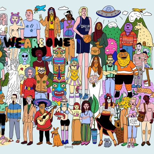 Diverse group of people illustration
