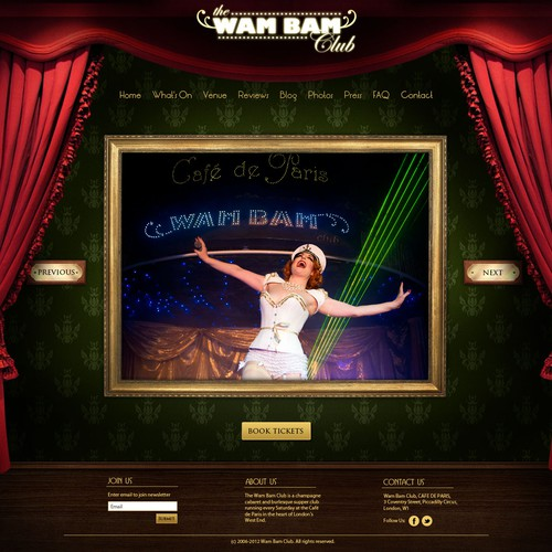 Luxury website design for The Wam Bam Club (cabaret show)